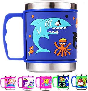 12 Oz Kids 304 Stainless Steel Shark Mug with slider Closure Lid - Eco-Friendly - BPA Free - by F-32 Signature Collection (Shark Blue)