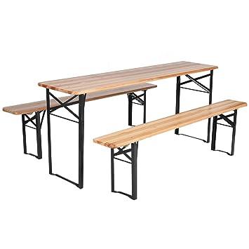 Giantex 3 PCS Beer Table Bench Set Folding Wooden Top Picnic Patio Garden