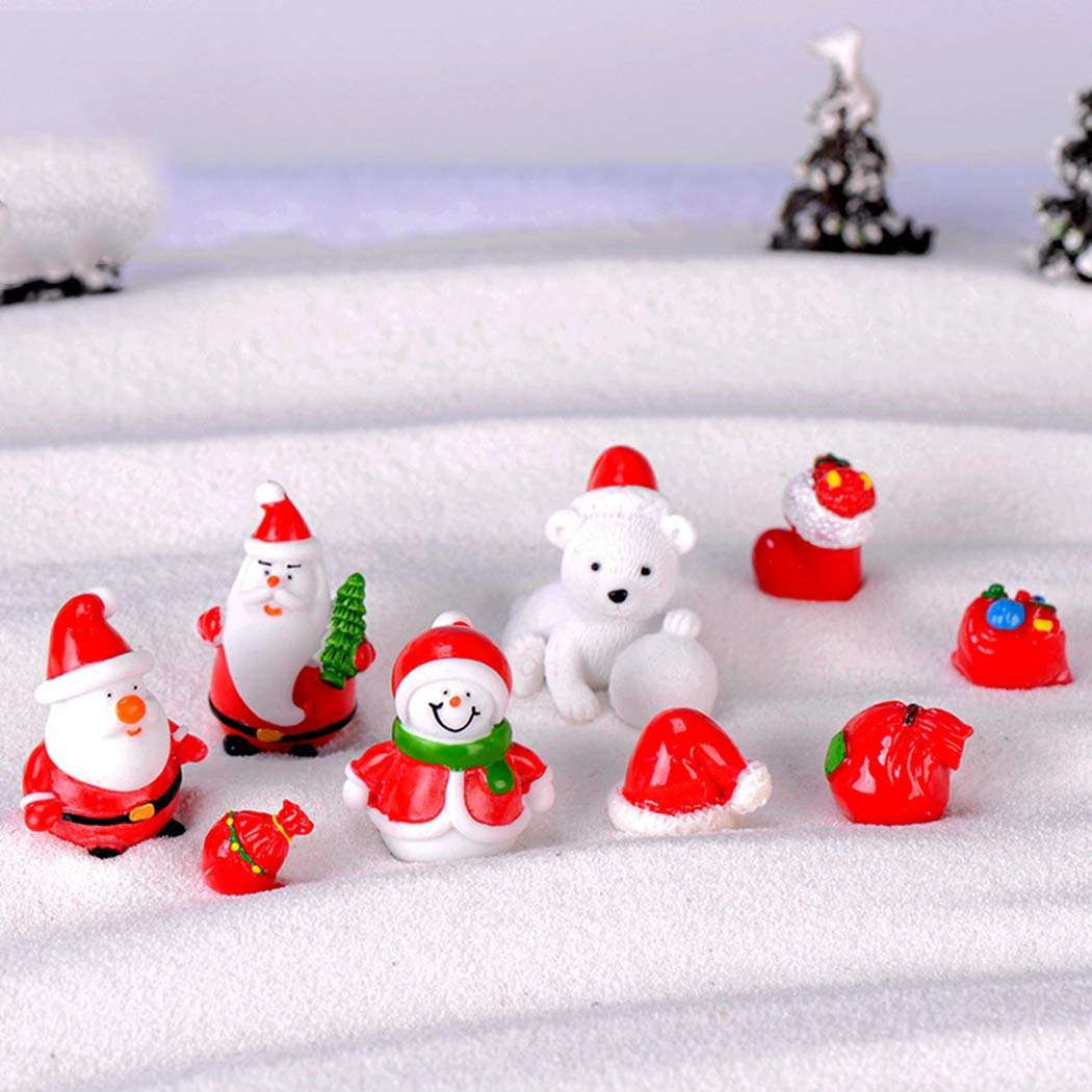 Fansport 9PCS Christmas Resin Ornament Assorted Potted Plant Craft Miniature Ornament for Christmas
