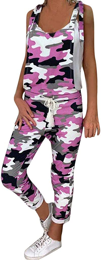 Camouflage Loose Jumpsuit,RQWEIN Women Sleeveless Camo Print Tie Waist Slim Loose Long Pants Jumpsuits Rompers Overall