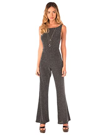 2533a8e36e25 Motelrocks - Yaya Flared Jumpsuit in Silver Lurex by Motel  Amazon.co.uk   Clothing