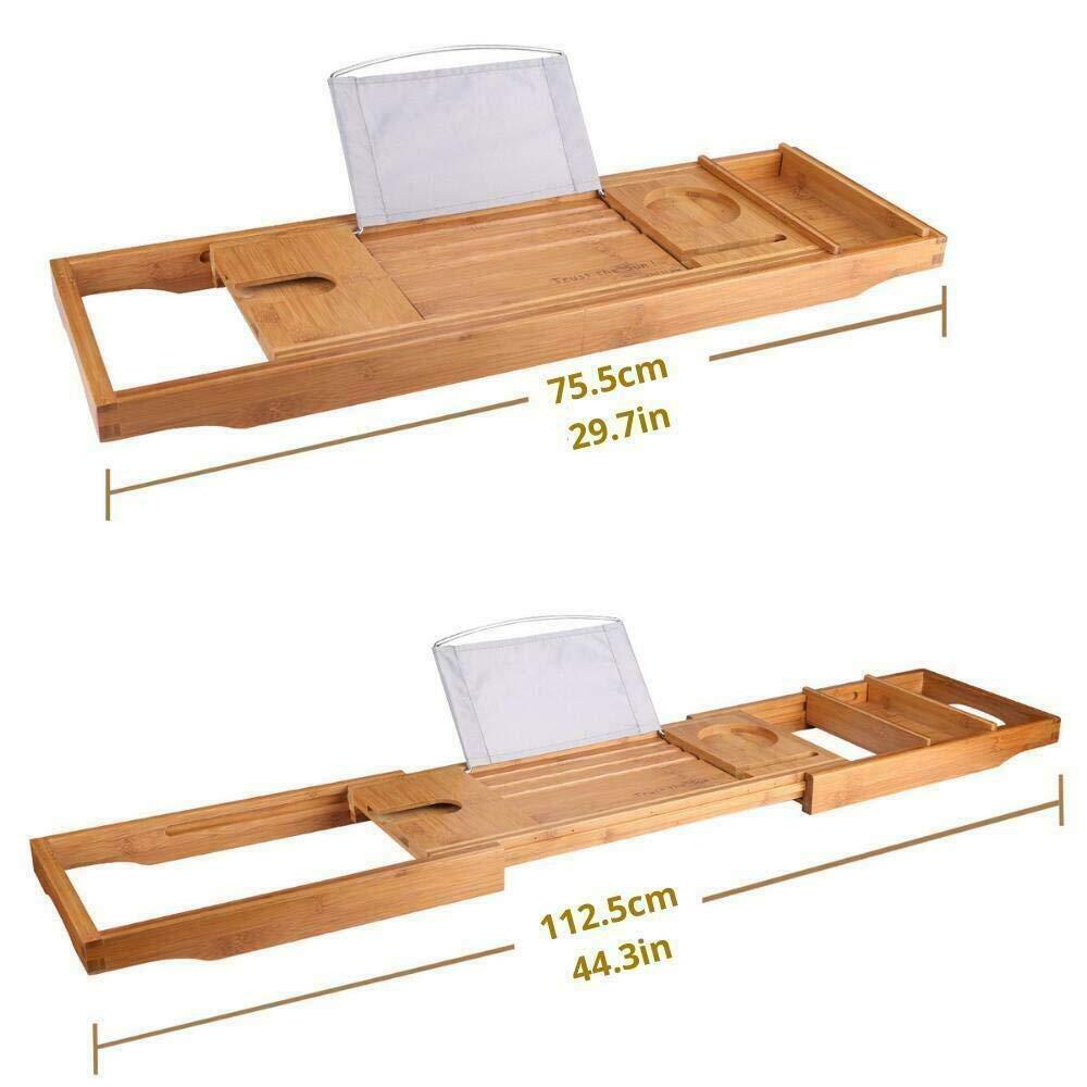 Viet Hand Bath Caddy Bamboo Bathtub Tray Reading Shelf Rack Bamboo Bath Organizer, Mug,Pad
