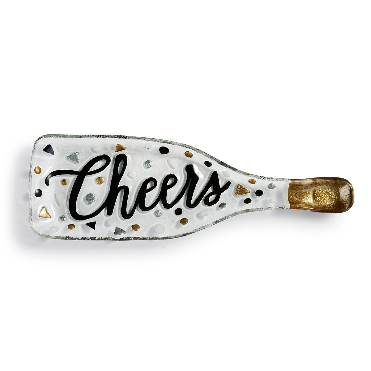 Cheers Script Bottle Shaped Glossy White 14 x 5 Vibrant Glass Accent Plate Demdaco 2020170215