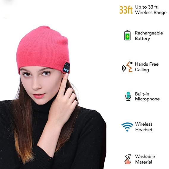 d1ef9d841 Wireless Beanie Smart Winter Knit Hat V4.2 Wireless Musical Headphones  Earphones 2 Speakers Beanies Hats for Men Women Teen Young Girls (Pink)