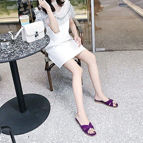 Verde Slipper Femeninas CN39 CAICOLOR 3 Color Cool bajo y UK6 Verano Planas EU39 de Purple Zapatillas Tamaño Opcional Opcionales Tacón Tamaño Colores de Sandalias qpU4Bnq