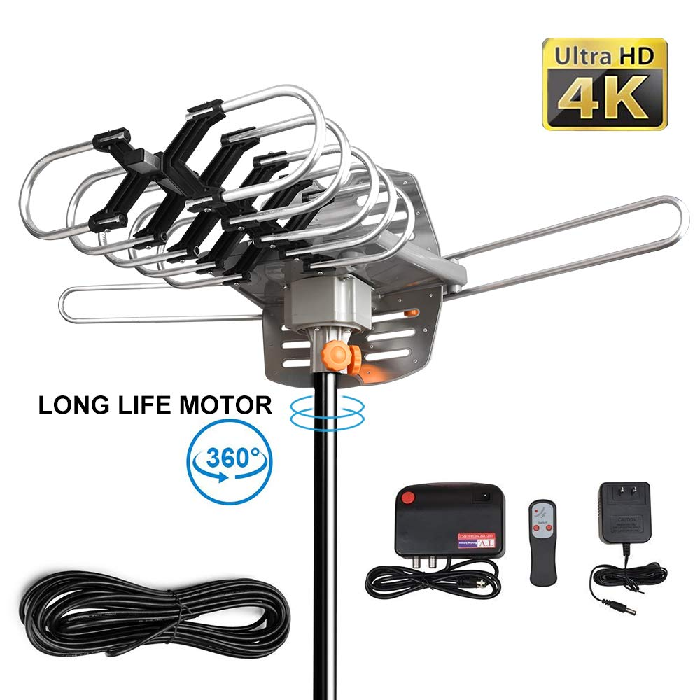 Outdoor Amplified Digital Antenna -HDTV Antenna 150 Mile Range 360° Rotation Support 2 TVs for UHF/VHF Channels - for Full HD 1080P 4K Channels