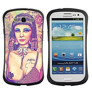Hybrid Anti-Shock Bumper Case for Samsung Galaxy S3 / Pop Art Tattoo Cleopatra