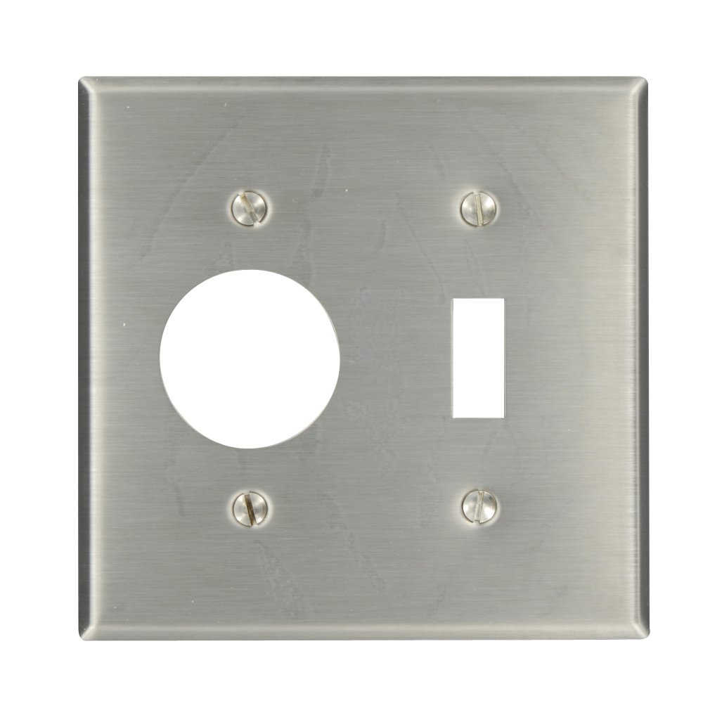 Leviton 84007 2-Gang 1-Toggle 1-Single 1.406-Inch Diameter, Device Combination Wallplate, Device Mount, Stainless Steel