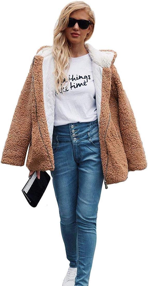 YYF Womens Coat Faux Fur Shearling Coat Hooded Cardigan Jacket Long Sleeve Zipper Oversized Outwear with Pockets Warm Winter