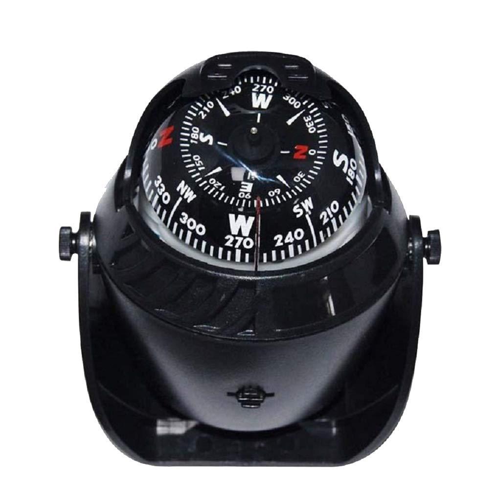 OmkuwlQ Car Truck Boat Adhesive Navigation Compass Ball 12V LED Light Dashboard Decoration Ornament