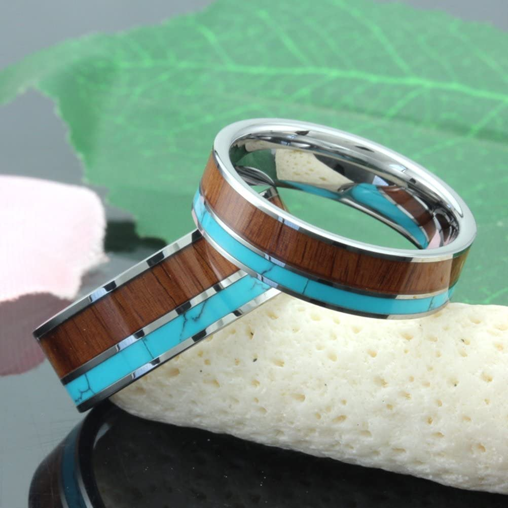 Fashion Month Womens 6mm Tungsten Ring Vintage Wedding Engagement Band with Koa Wood Solid Turquoise Flat Top for Her