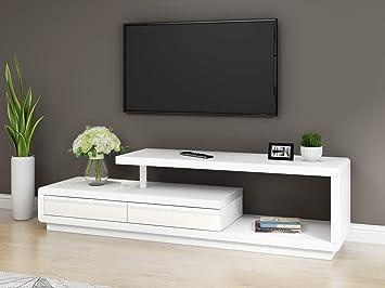 Keinode Mueble de TV Moderno con 2 cajones Blanco y Gris ...