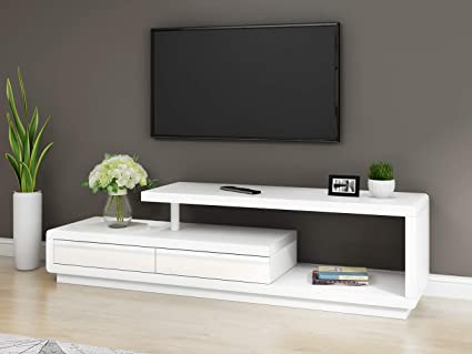 Keinode mobile TV mobile moderno con 2 cassetti Bianco e ...