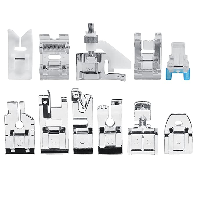 Máquina de coser prensatelas, Kit de 11 pcs multifuncional prensatelas para maquina de coser Presser Foot Feet Kit Machines Set: Amazon.es: Hogar