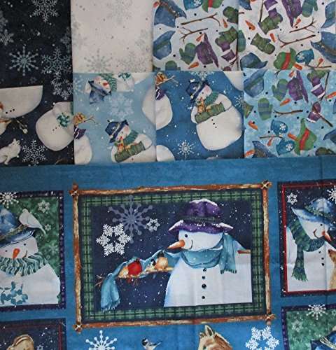 Creature Comforts by Barb Tortillotte from Clothworks 8 fat quarters + 1 panel Cotton Quilt Fabric Snowmen & Animals ()