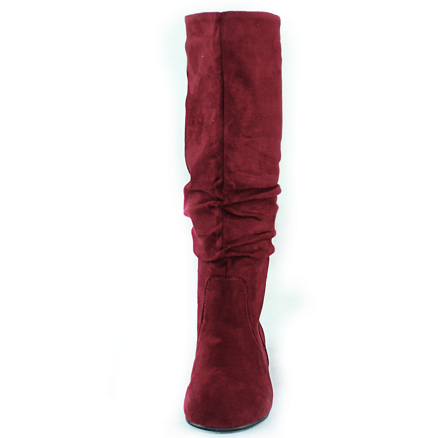 52d43085b4ab5 Amazon.com | Top Moda Women's Mid Calf Slouch Faux Suede Comfortable Slip  on Round Toe Flat Heel Knee High Boots Fashion Shoes | Boots