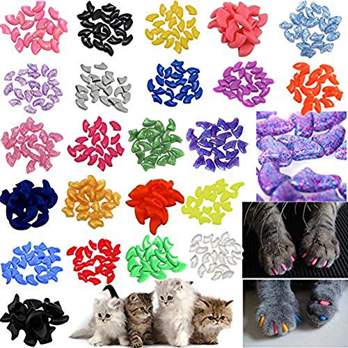 - JOYJULY 140pcs Pet Cat Kitty Soft Claws Caps Control Soft Paws of 4 Glitter Colors, 10 Colorful Cat Nails Caps Covers + 7 Adhesive Glue+7 Applicator with Instruction, Medium M
