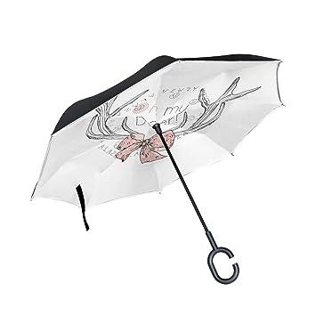 Mumimi LEISISI Cool Panda - Paraguas invertido, doble capa, resistente al viento, protección