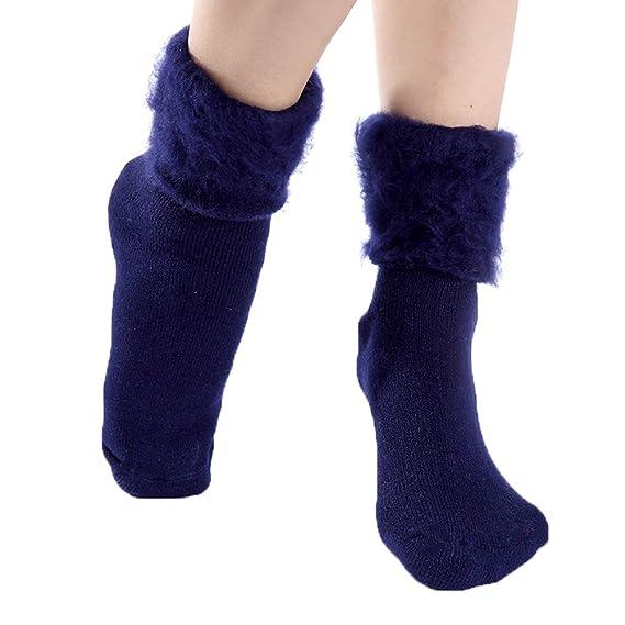 GTKC Mujeres Chica Gruesa de punto Caliente Plus de Terciopelo Largos Calcetines de Lana Azul Oscuro: Amazon.es: Ropa y accesorios