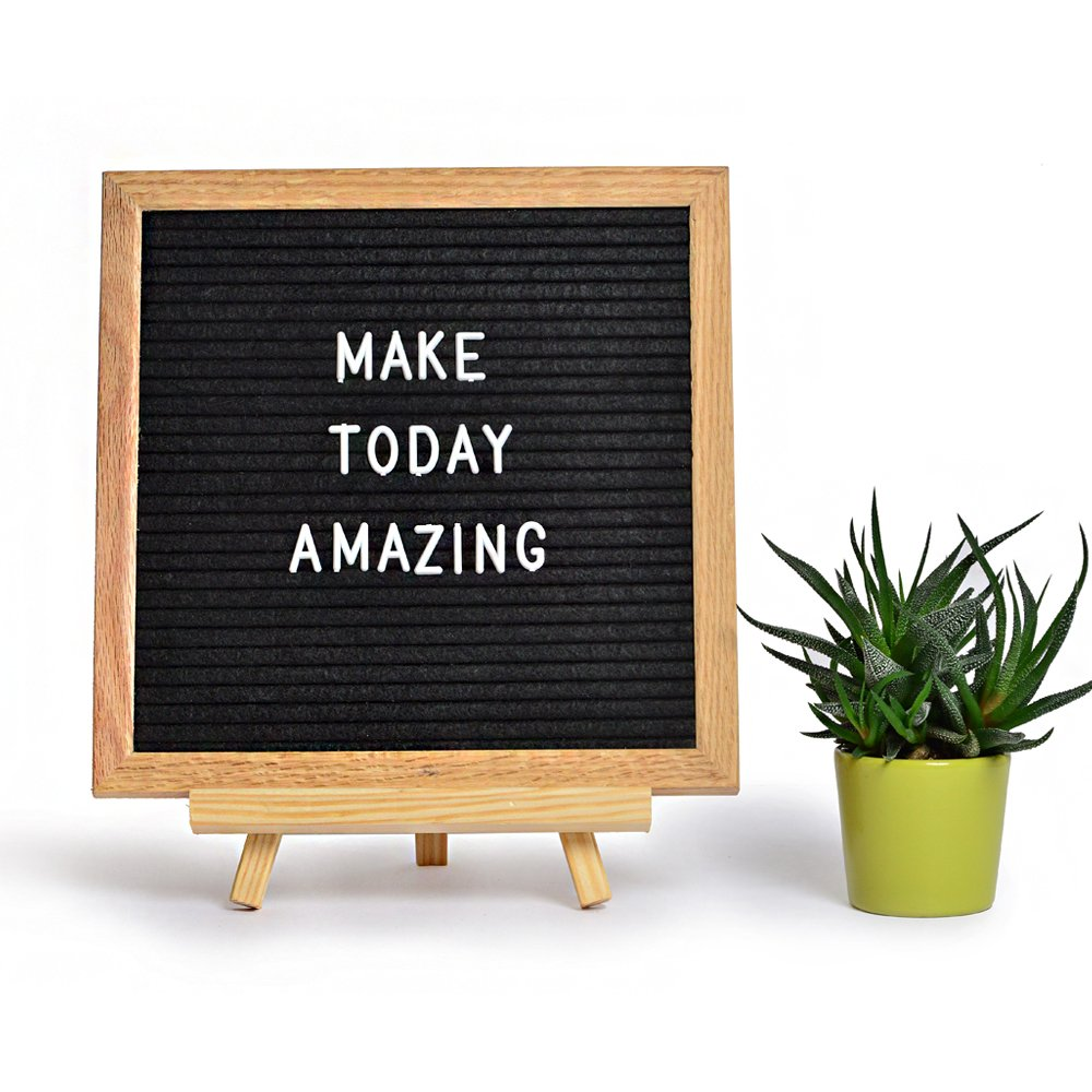 Bailyss Letter Board - With Stand - 10x10 Inches Oak Frame With Black Felt - 290 Changeable Letters And Symbols - Drawstring Canvas Bag And File