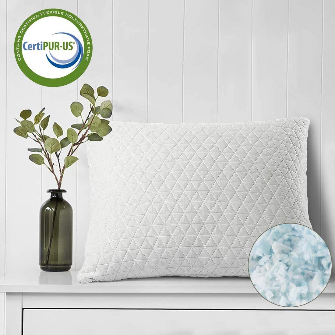 COHOME Adjustable Cross-Cut Memory Foam Pillow for Sleeping Premium Foam Hypoallergenic Cooling Soft Bamboo Derived Rayon Cover - Easy Breather -Washable -CertiPUR-US-Queen