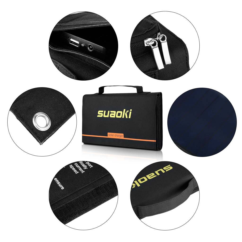 Suaoki 40W Portable Sunpower Mono-crystalline Solar Panel With DC 18V and Usb 5V Output Charger for Laptop Tablet SLR GPS Cellphone Other 5-18V Device by SUAOKI (Image #3)