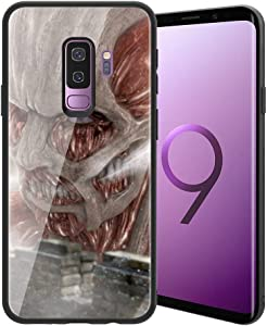 for Galaxy S9 Plus, Attack on Titan (Shiso no Kyojin) Design 388 Tempered Glass Phone Case, Anti-Scratch Soft Silicone Bumper Ultra-Thin Galaxy S9 Plus Cover for Teens and Adults