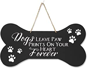 """LifeSong Milestones Personalized Memorial Dog Bone Wall Sign Black Dogs Leave Paw Prints Sympathy Gift for Loss of Pets Remembrance Gift for Pet Lovers 8""""x16""""x0.125"""""""