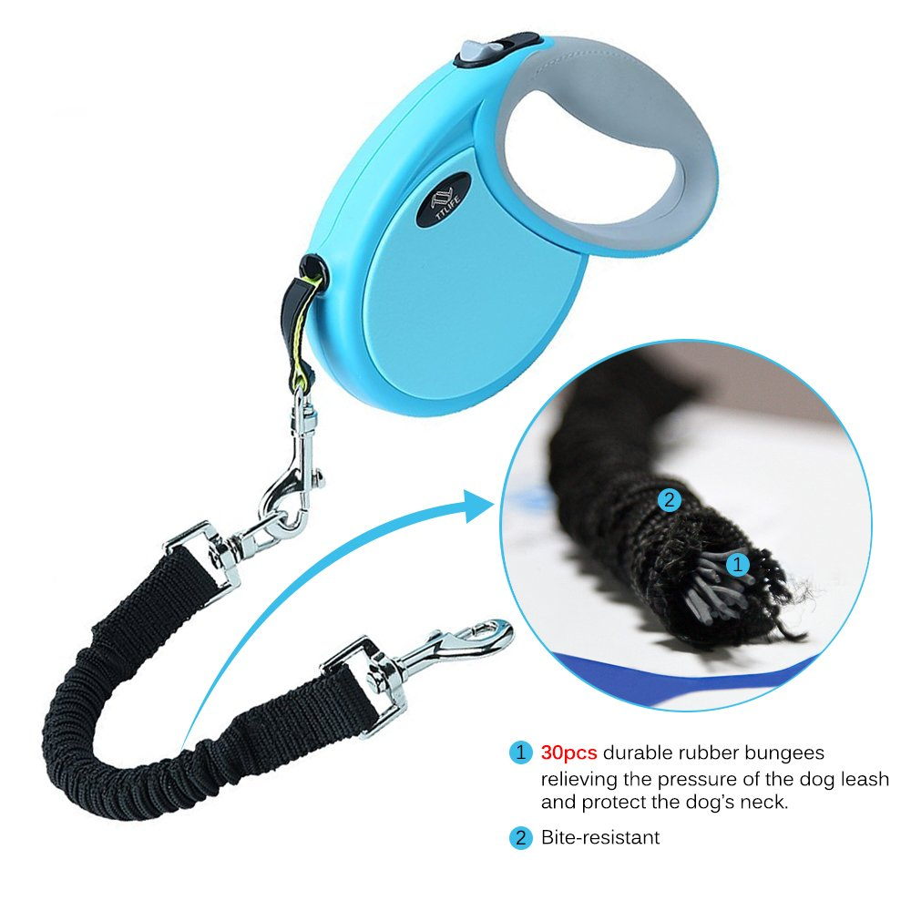 TTLIFE Retractable Dog Leash/Dog Flexi Retractable Leash Upgraded Reinforced Automatic 14. 8ft Bite-Resistant Ribbon Leash for Small & Medium Dogs with Elastic Rope