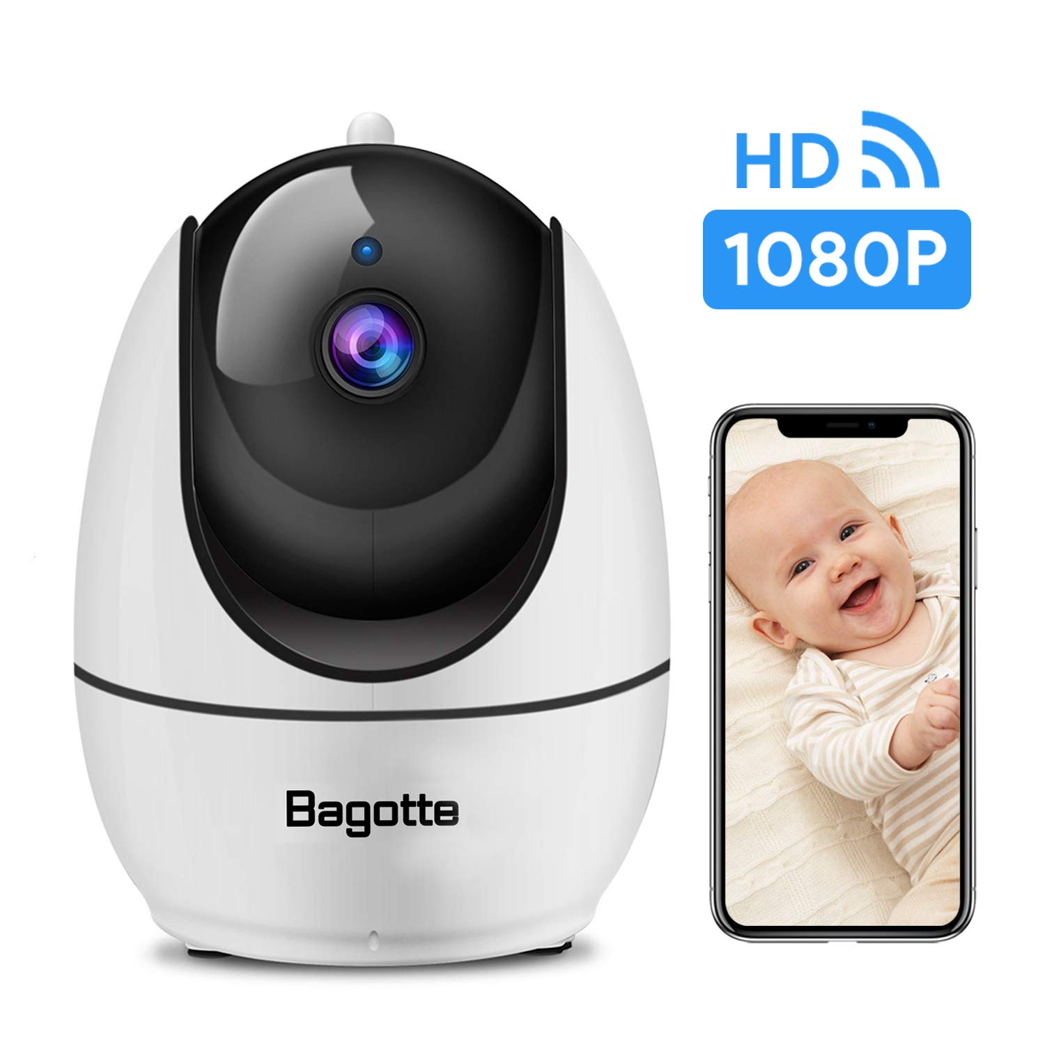 WiFi Camera, Bagotte 1080P FHD Home Security Camera with Super IR Night Vision, 2-Way Audio, Motion Detection, Pan/Tilt/Zoom Pet Camera for Baby/Elder/Nanny by Bagotte