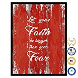 Let Your Faith Be Bigger Than Your Fear Bible Verse Scripture Quote Canvas Print Picture Frame Home Decor Wall Art Gift Ideas 28'' x 37''