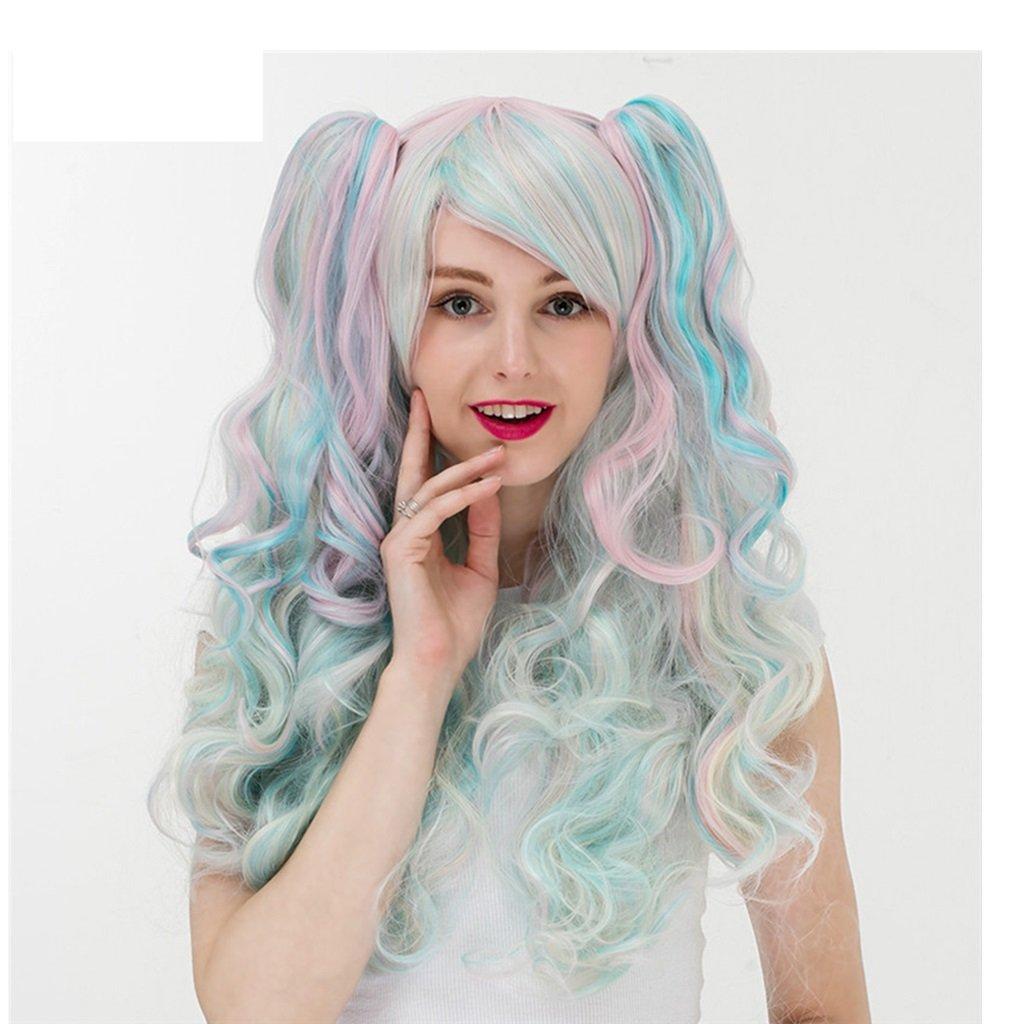 Gai Hua Home Female pony tail gradient European and American anime wig long hair headgear (Color : Green)