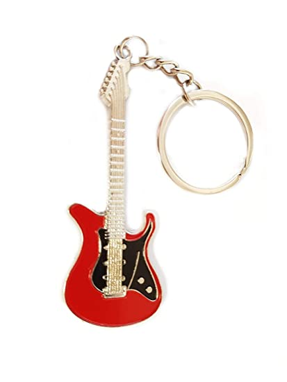 Guitarra Rock S Guitarra Música Bass llavero Negro Rojo: Amazon.es ...