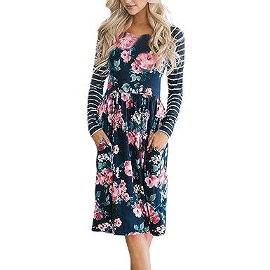 392afb86082 Damen Damen Kleider Maxikleid Lang Boho Langarm Blumen Streifen High Waist  Maxi Lange Hülsen-Lose