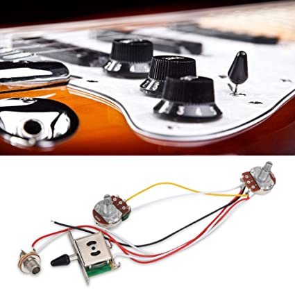 amazon com: guitar wiring harness prewired a500k push pull volume tone  shaft switch 3 way wiring harness for electric guitar bass: musical  instruments