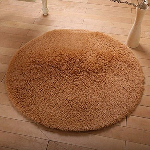 DODOING 3-5 Days Delivery Khaki Round Area Rugs Super Soft Living Room Bedroom Home Shag Carpet,Diameter - Package Time Class Delivery First Usps