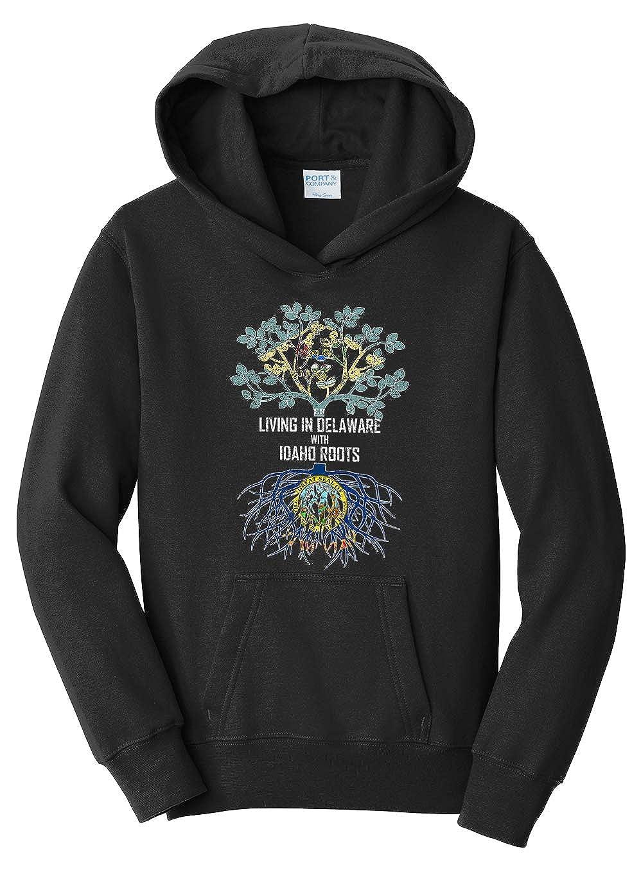 Tenacitee Girls Living in Delaware with Idaho Roots Hooded Sweatshirt