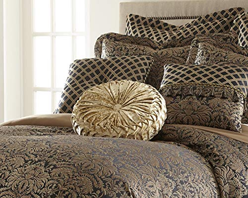 9 Pcs King Traditional Flora Black and Gold Pattern Comforter Set Bed Cover Bedding Accessories Bed Skirt Shams Euro Shams Decorative Pillow Velvet Round Pillow Set Luxury Bedroom Utility Gift
