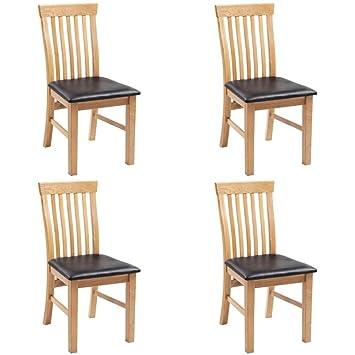 Sedie In Rovere Per Cucina.Festnight 4 Pz Sedie Sala Da Pranzo Sedie Per Cucina Legno Di Rovere In Pelle Artificiale
