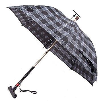 QIAN Inteligente paraguas de mango largo stick-slip caña de iluminación ancianos paraguas de caña