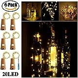 [75in/190cm] Wine Bottle Cork String Lights - SurLight 20 LEDS Bottle Lights Fairy Lights for Birthday Party Wedding Christmas Table Decor (Warm White, 6 Pack)