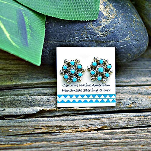(Genuine Sleeping Beauty Turquoise Stud Earrings, 925 Sterling Silver, Authentic Navajo Native American Handmade in the USA, Natural Stone, Small and Dainty for Women, Light Blue, Southwest Jewelry )