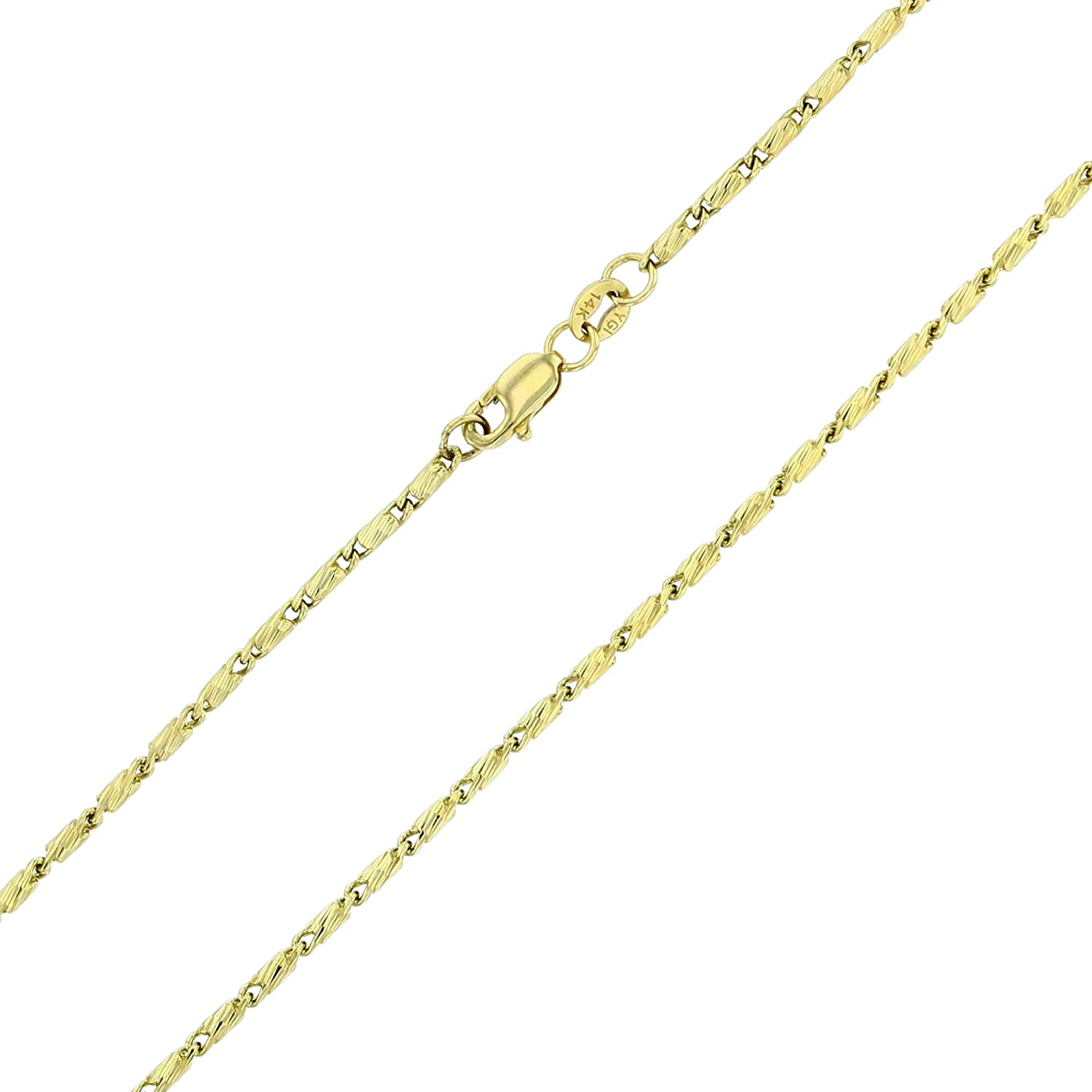 Gold Razo Necklaces for Men and Women Italian Gold Necklaces 14K Yellow or White Gold Solid .77mm-1.50mm Diamond Cut Razo Chain with Lobster Claw Clasp