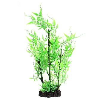 sourcing map Acuario de agua artificiales de plástico verde pasto Plantas de bambú 28cm de alto.: Amazon.es: Productos para mascotas