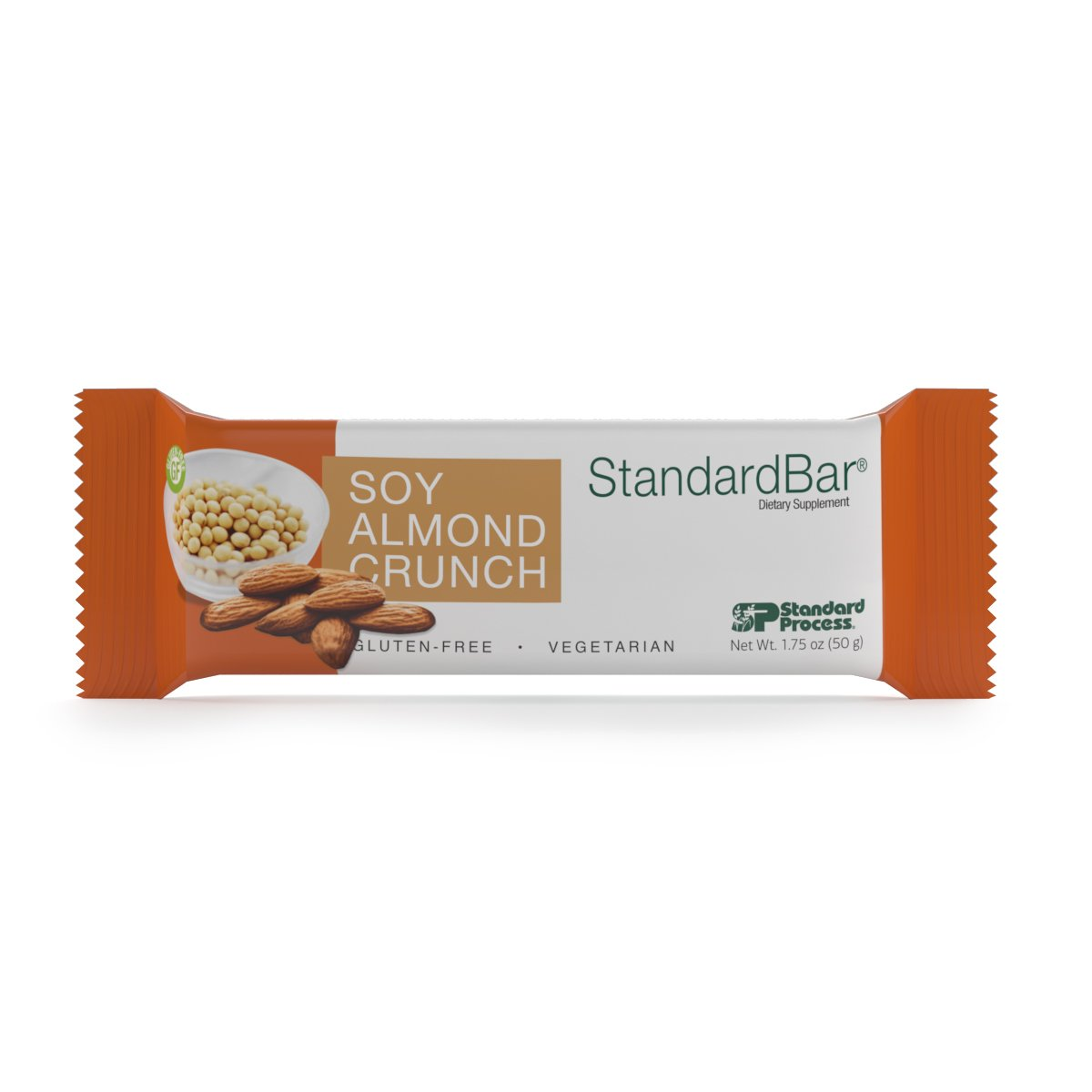Standard Process - Soy Almond Crunch StandardBar - High-Protein Supplement, 15 g Protein Along with Calcium, Vitamin B6, Iron and Magnesium, Gluten Free and Vegetarian - 18 Bars (1.75 oz. Each)
