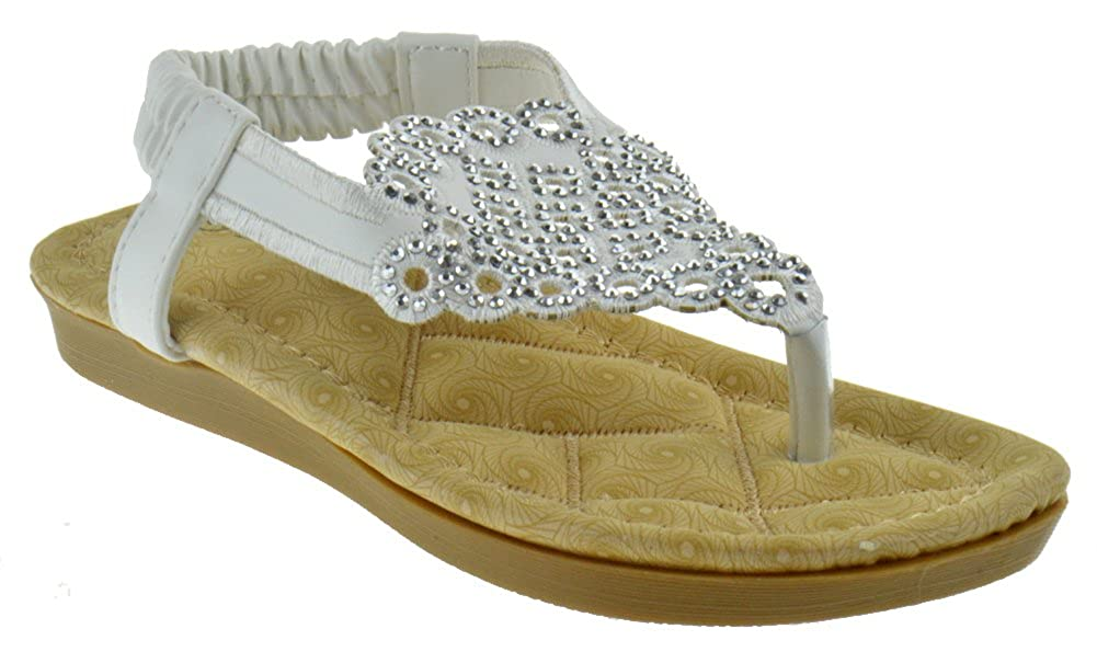 Link Rosa 78K Little Girls Padded Slingback Pull On Rhinestone Sandals