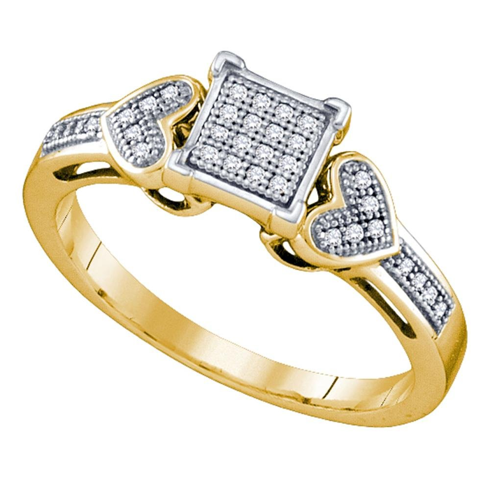 10kt Yellow Gold Womens Round Natural Diamond Heart Love Cluster Fashion Ring (.10 cttw.) (I2-I3)