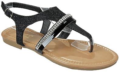 7975055a5 JJF Shoes Women Honey Black Sparkling Crystal Rhinestone Strappy Cut Out Gladiator  Flat Dress Sandals-