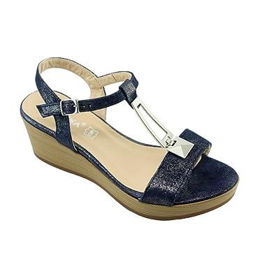 0547777291f Angelina® JAMONI Sandale Talon Compensée Stable Chaussures Femme Barrette  Argentée Marque Cuir Métallisé Bleu -