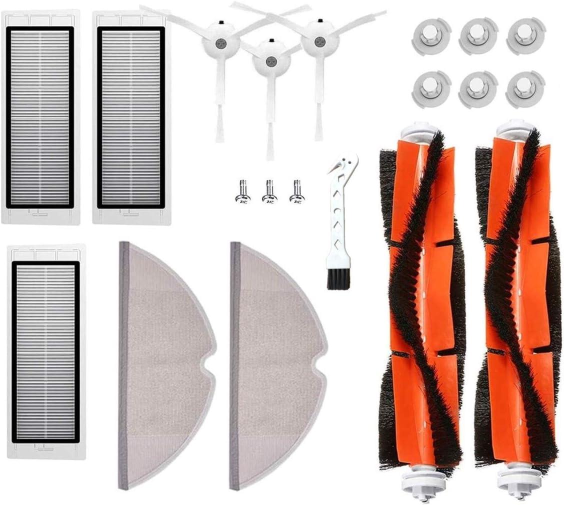MTKD® Kit 17 Recambios para Roborock S50 S51 S55 S5 S6 - Accesorios para Xiaomi MI Mijia Robot Aspiradora - Cepillo Principal, Cepillo Lateral, Filtro HEPA y Mopa.